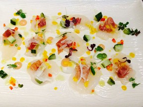 Scallop crudo at Salted Vine in Squamish. Mia Stainsby photo