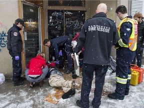The Vancouver Fire Department's medical unit responds to an unresponsive man after he injected a drug in the Downtown Eastside one day last week. In the first 10 months of 2016, 622 people died of illicit-drug overdose in B.C.