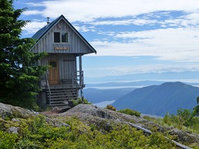 Tin Hat Hut, showing the spectacular view of the Sunshine Coast and west to the Pacific ocean.