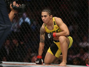 Jessica Andrade prepares for a round facing Joanne Calderwood during the UFC 203 event at Quicken Loans Arena on Sept. 10, 2016, in Cleveland, Ohio.