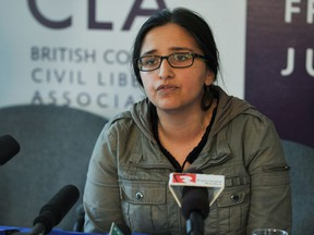 FILE PHOTO - Harsha Walia speaks at a BCCLA press conference in Vancouver on March 21, 2013. Walia is working with school boards to ensure access to students with uncertain immigration status.