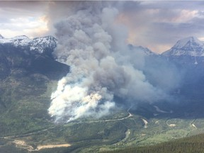 A wildfire is burning out of control near Tete Jaune Cache.