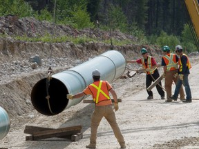 Construction work on the Kinder Morgan Trans Mountain pipeline in B.C. near Jasper, Alta., in 2008.