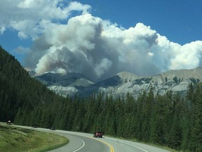 A wildfire has shut a big stretch of the highway that runs through British Columbia's Kootenay National Park.