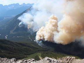 Supplied image via Parks Canada taken on July 30, 2017 of the Verdant Creek Fire in Kootenay National Park/ Asssiniboine Provincial Park.