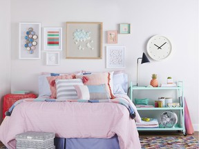 Bedding in bright, fun, colours and patterns is the best place to start with dorm room decor, says HomeSense Design Expert Tamara Robbins. Accessories, like this powder coated metal shelf with casters (i.e. turquoise trolley cart) at HomeSense adds personality to the space, and is also functional.