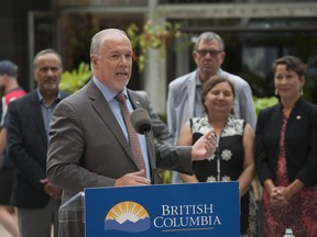Premier John Horgan addressed the 2014 Mount Polley mine tailings dam collapse on Friday, and the fact that no provincial charges will be laid in connection with the disaster.