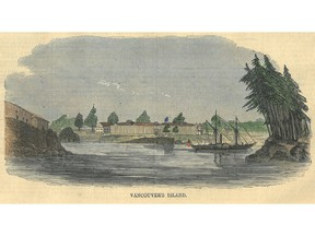 A July 17, 1858 illustration from Harper's Weekly magazine showing what it called Vancouver's Island, probably Fort Victoria.