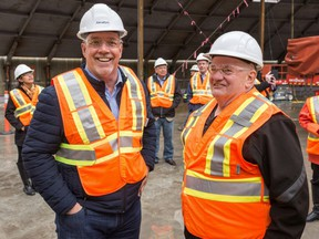 B.C. Premier John Horgan, left, toured the AltaGas Ridley Island Propane Export Terminal earlier this week in Prince Rupert, B.C.
