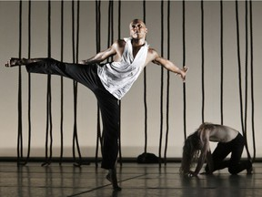 The Tero Saarinen Company kicks off DanceHouse's 10th season with Morphed from Oct. 27 & 28 at the Vancouver Playhouse. Pictured: Ima Iduozee and Pekka Louhio.