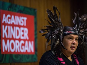 Rueben George, Project Manager for the Tsleil-Waututh Nation Sacred Trust Initiative, speaks as First Nations and environmental groups speak about a federal court hearing about the Kinder Morgan Trans Mountain pipeline expansion, during a news conference in Vancouver, B.C., on Monday October 2, 2017.