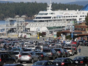 Vehicles fill the parking lot at Swartz Bay ferry terminal on the busy Thanksgiving weekend.