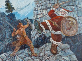 Clash of the Titans: St. Michael vs. St. Nicholas, acrylic on canvas, by David Mayrs. It's in We All Drew, Always at the West Vancouver Museum to Dec. 16.