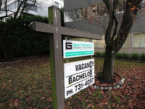 A rental vacancy sign taken on the 1400 block of West 13 Ave. in Vancouver on Nov. 27, 2017.