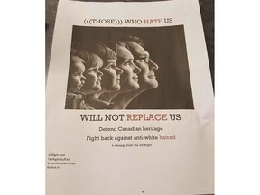 An anti-Semitic poster circulated at the University of Victoria is raising serious concerns about white supremacy groups on campus. Photo credit: B'Nai Brith Canada. [PNG Merlin Archive] B'Nai Brith Canada., PNG