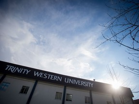 A building is seen at Trinity Western University in Langley, B.C., on Wednesday, February 22, 2017.