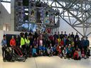 More than 80 runners took part in West Van Run Crew's inaugural New Year Breakfast Run on Saturday morning, but first they stopped inside Park Royal mall for a pre-run group shot.