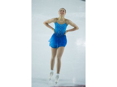 Amelia Orzel  of Ontario tears up realizing she performed well. Amelia placed 1st in Novice Women on January 9.