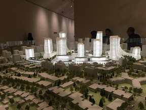 A scale model is shown at the Westbank Quadreal press conference that unveiled future plans for Oakridge.