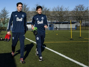 David Norman Jr. and Thomas Gardner at UBC for the first day of Whitecaps 2017 pre-season training, Jan. 23, 2017.