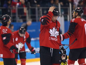 Canada reacts after losing 4-3 to Germany during the Men's Play-offs Semifinals on day fourteen of the PyeongChang 2018 Winter Olympic Games at Gangneung Hockey Centre on February 23, 2018 in Gangneung, South Korea.