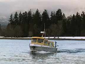 A vessel of the The Bowen Land and Sea Taxi, which has lost access to a dock in Vancouver Coal Harbour and has shut down.
