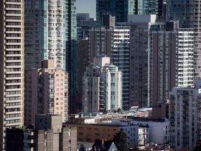Condos and apartment buildings are seen in downtown Vancouver.