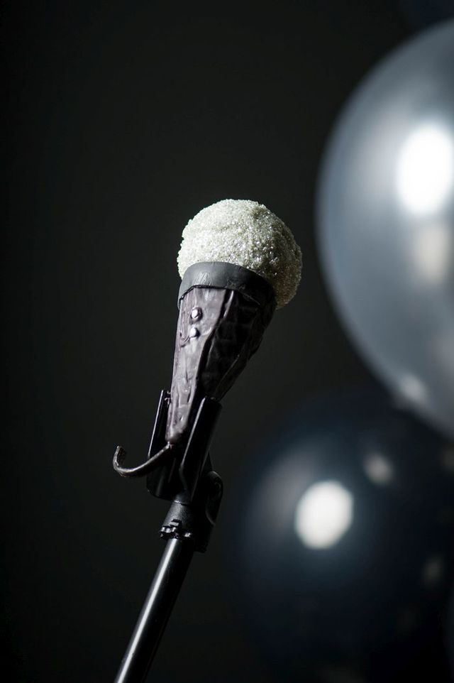 A Microphone Cake Pop by Pastry Chef Rebecca Rancier of The Lazy Gourmet.