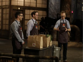 From left to right, Jason Golbey (director of business strategies), Thomas Buchan (co-founder) and Ryland Haggis (director of marketing) appear during a filming for CBC's Dragons' Den in April 2017. Their episode, pitching Fuud Canada, will air on Thursday, March 8, 2018.