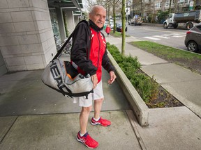 Healthy aging study participant Ivan Vance, at 90, looks set to head off to the courts this week at Vancouver's Jericho Tennis Club. 'These guys in their 60s are playing doubles, I don't even think they sweat,' says Vance, who sticks to singles play. 'Mostly they don't want to play me anyway, it's too hard on their ego.' (Photo: Arlen Redekop, PNG)