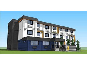 Architectural rendering of temporary modular housing planned for 525 Powell Street. Photo: city of Vancouver. [PNG Merlin Archive]