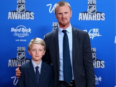LAS VEGAS, NV - JUNE 22:  Henrik Sedin of the Vancouver Canucks and son Zalter attend the 2016 NHL Awards at the Hard Rock Hotel.