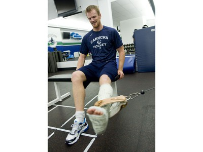 Oct. 26, 2009 -- Injured Canucks player Daniel Sedin undergoing rehab at GM Place.