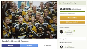 """A screengrab of the main page of the GoFundMe campaign for the Humboldt Broncos. The team's board of directors received advice from a committee of """"prominent Canadians"""" on how to administer more than $15 million raised to help the team."""