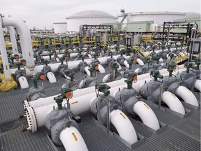 Pipes are seen at the Kinder Morgan Trans Mountain facility in Edmonton.