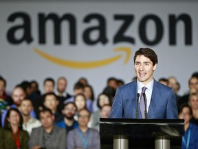 Prime Minister Justin Trudeau announces a new Amazon Vancouver headquarters to bring 3,000 jobs during an April 30 news conference in Vancouver.