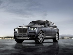 This photo provided by BMW Group shows the Rolls-Royce Cullinan. Rolls-Royce unveiled The Cullinan, its first SUV on Thursday, May 10, 2018.