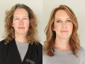 Kate Pratt was finding her hair to be unruly and wanted to update and refresh her natural hair colour and style. On the left is Kate before her makeover with Nadia Albano, on the right is her after.
