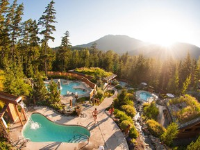 A view of Scandinave Spa in Whistler.