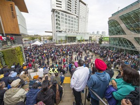 Surrey residents hold an anti-violence rally outside city hall last week.