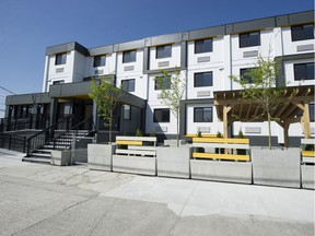 A 39-unit modular building opened on the former Sugar Mountain tent city site in Vancouver in April.