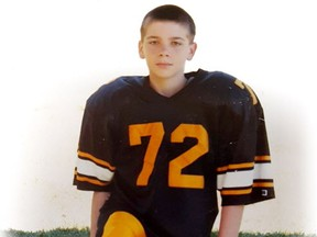 Christian DeSousa, who was 12 in this photo, played football for many years in Surrey before becoming addicted to drugs at age 15. After an eight-year battle with addiction, he is now 23 and in a treatment centre.