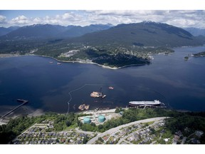 An aerial view of Kinder Morgan's Trans Mountain marine terminal in Burnaby on May 29.