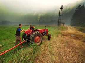 Henry Gouwenberg, right, is under an evacuation alert at his farm on Kamp Road due to the Mount Hicks blaze 10 kilometres east of the District of Kent in Agassiz on Aug. 21.