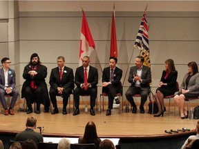Vancouver mayoral debate, from left, candidates Hector Bremner, Golok Buday, David Chen, Fred Harding, Ken Sim, Kennedy Stewart, Shauna Sylvester and Wai Young.