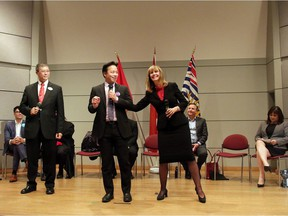 Vancouver Mayoral Debate standing from left to right: Candidates David Chen, Ken Sim and Shauna Sylvester.