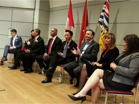Vancouver Mayoral Debate from left to right: Candidates Hector Bremner, Golok Buday, David Chen, Fred Harding, Ken Sim, Kennedy Stewart, Shauna Sylvester and Wai Young.