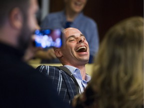 Jason Lamarche reacts to being randomly drawn as the first name on the Mayor's ballot for the Vancouver municipal election.