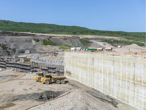 Installation of concrete for the south-bank tailrace wall in July at B.C. Hydro's Site C dam construction project on the Peace River near Fort St. John.