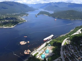 A aerial view of Trans Mountain marine terminal, in Burnaby, B.C., is shown on Tuesday, May 29, 2018.